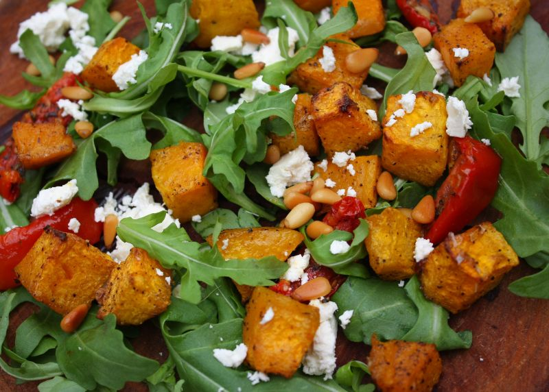 Pumpkin, feta and pine nuts