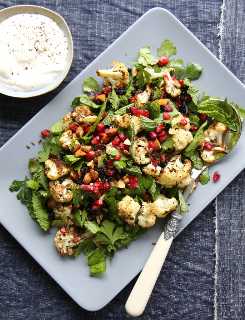 Roasted cauliflower, pomegranate and mint