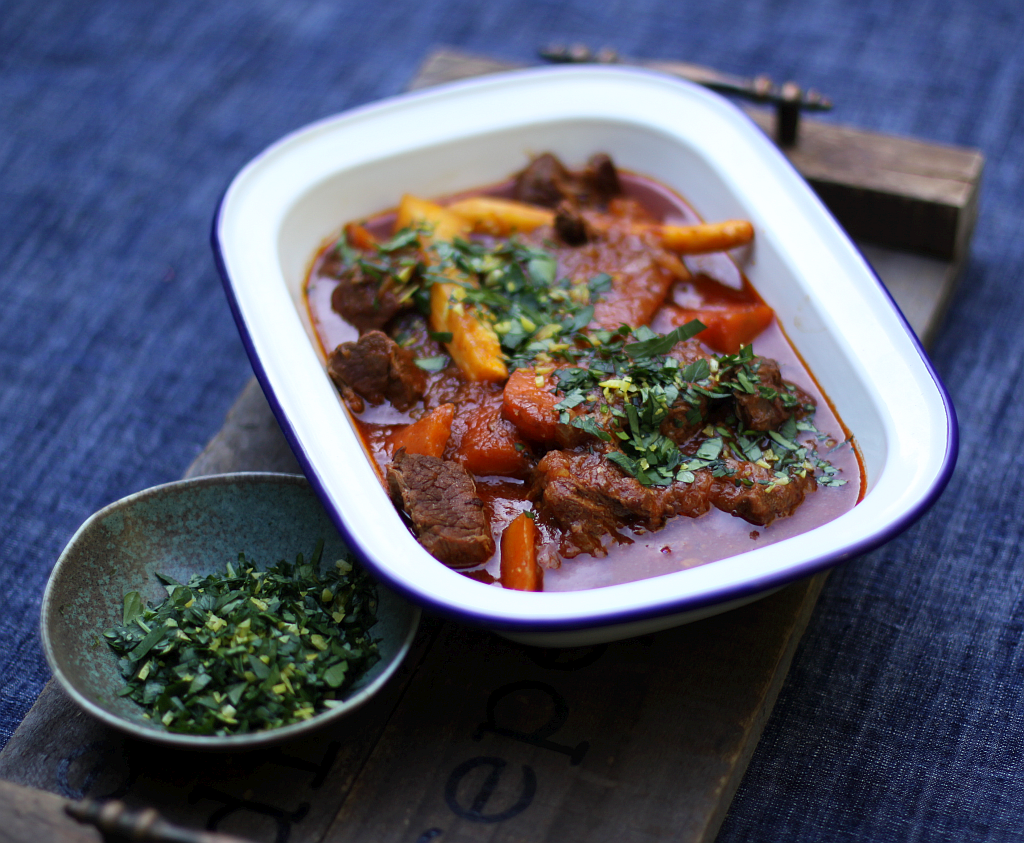 Rich beef stew with winter vegetables