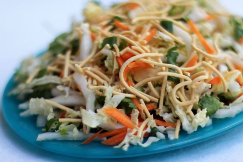 Chinese cabbage and crispy noodle salad