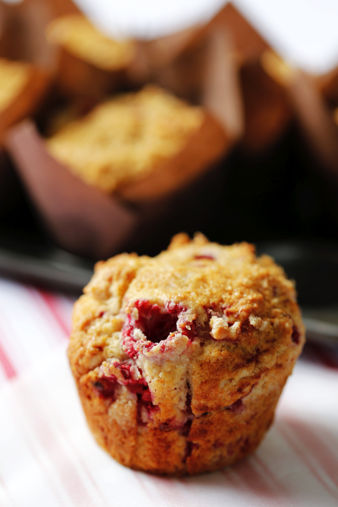 Raspberry and cream cheese muffin